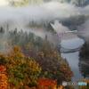 川霧と紅葉と只見線