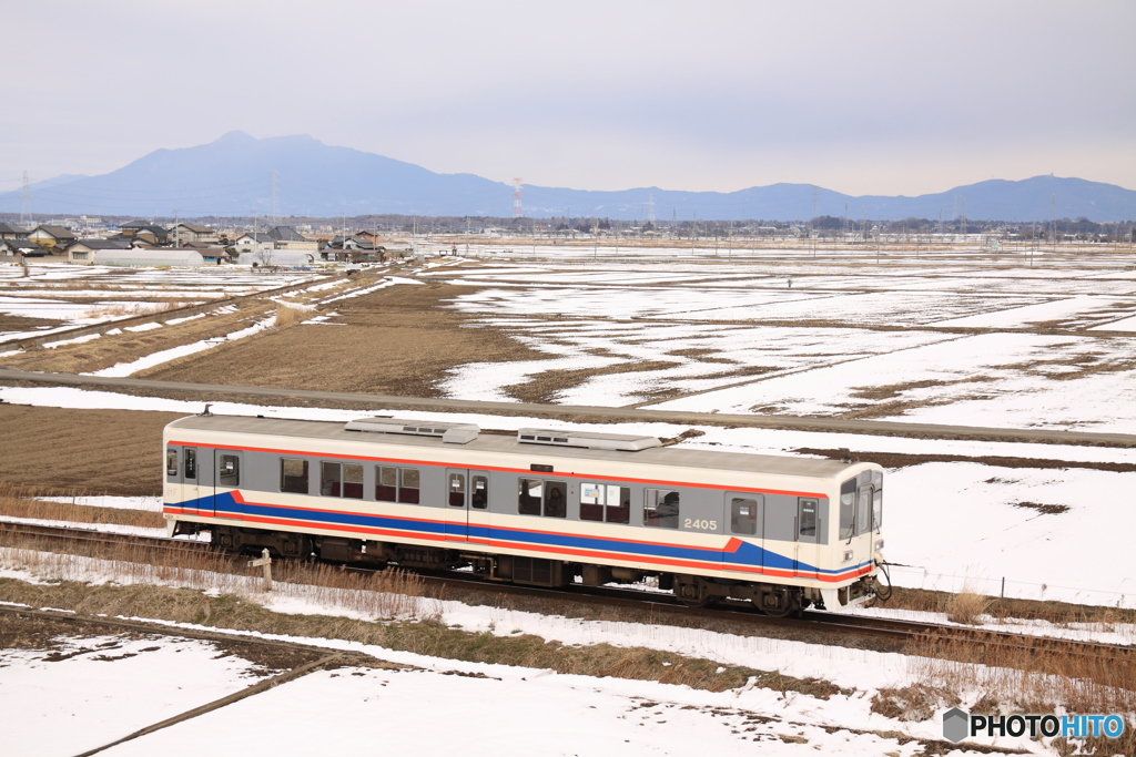 雪景色の常総線