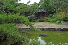 清渓亭を眺める