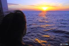 船から見た夕焼け