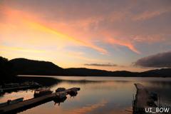 檜原湖の夕焼け