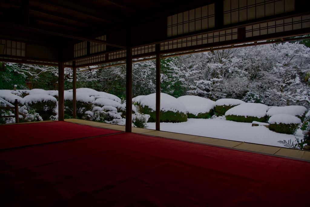 詩仙堂 庭園・雪景