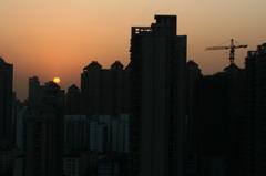 中国の夕日