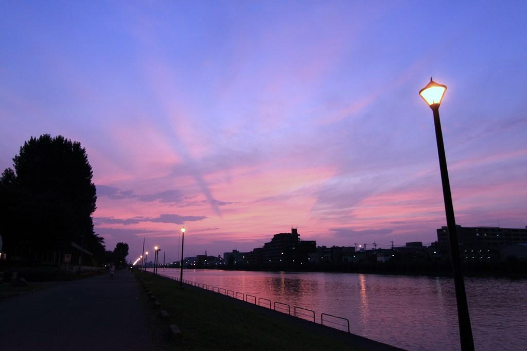 ボートコースの夕焼け