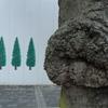 本物の傍らに並ぶ木