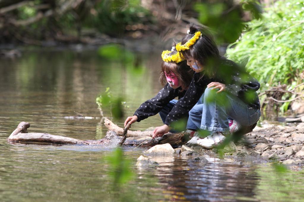 森の中の川遊び