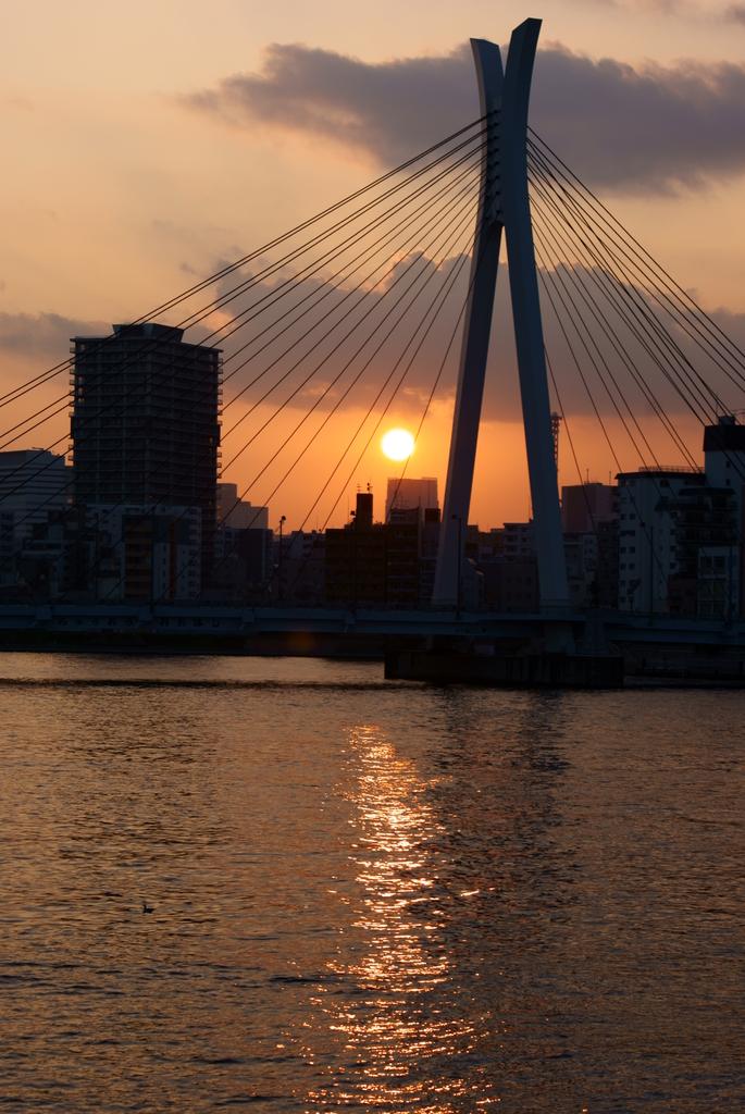 中央大橋・夕日