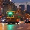 夕暮れの路面電車