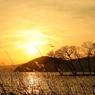 夕暮れの琵琶湖の辺り