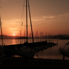 ヨットハーバーの夕陽