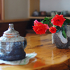 喫茶店のバラ