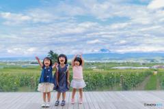 夏、北海道、三姉妹