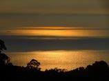 オレンジの空と海