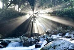 夫婦滝の光芒