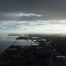 雨雲 石垣島へ着陸