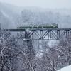 只見線の滝谷橋梁雪景色!