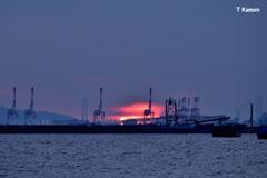 巨大なキリンに沈む夕陽