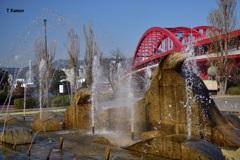 噴水と赤い橋(橋シリーズ①)