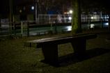 雨の夜のベンチ。