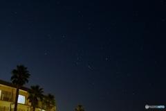 オリオン座のある星空