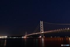 明石海峡大橋と星空②