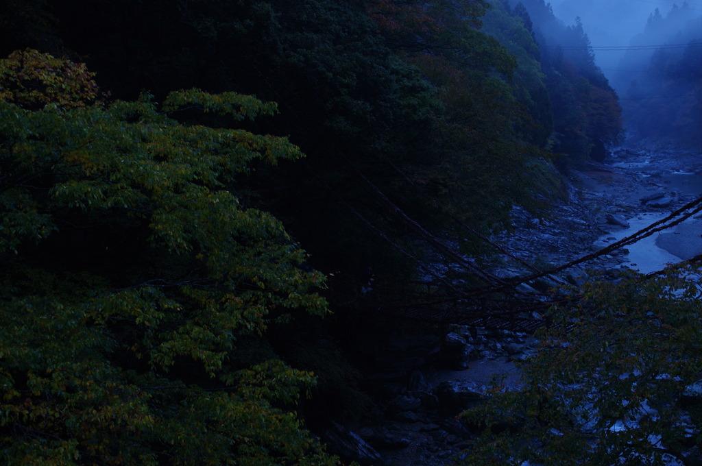 夕方かずら橋