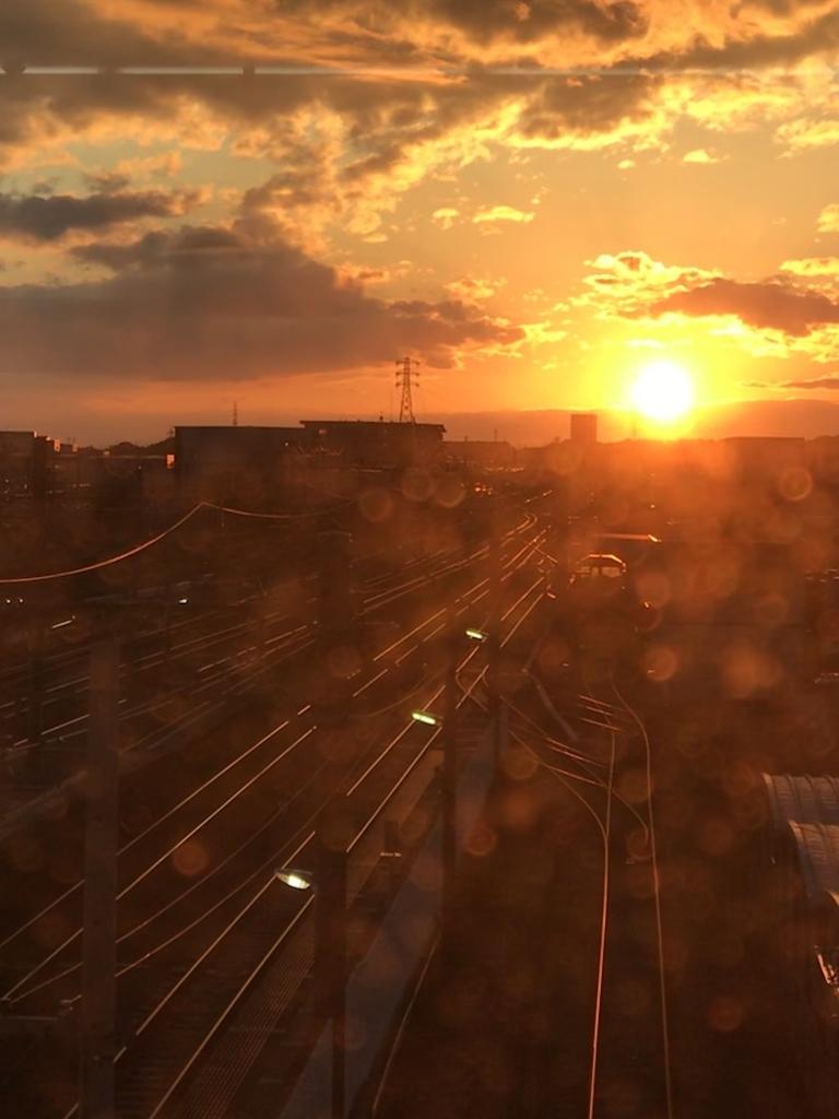 鉄路の夕景
