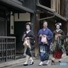 Geiko, Maiko walking around Gion, Kyoto