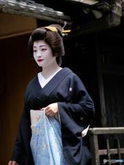 beautiful woman walking around Gion