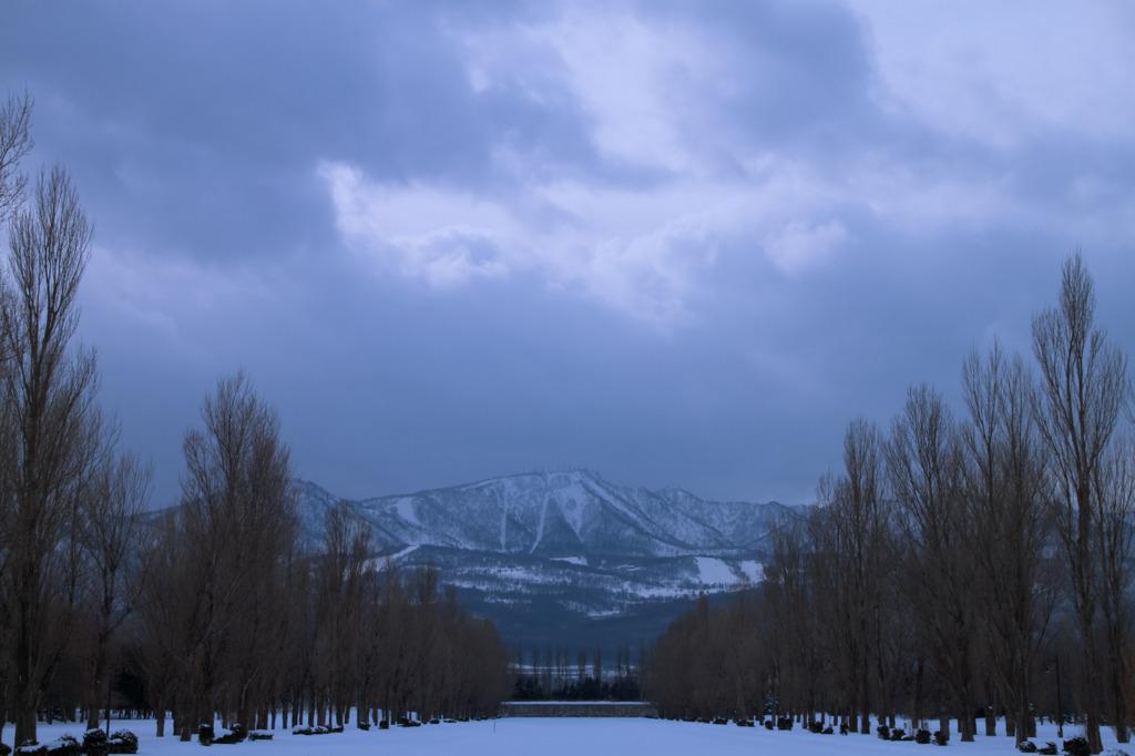 冬のカナルから手稲山を望む