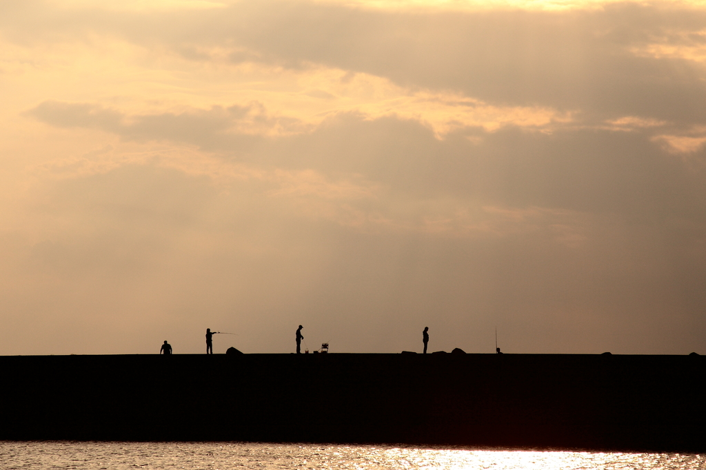 夕焼けの釣り