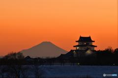 関宿城と富士山