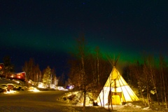 Tipi or Teepee with Aurora