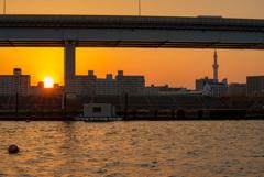 休日の夕陽