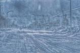地吹雪の中