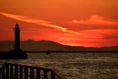 南港の夕陽
