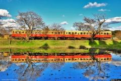 鏡面の小湊鉄道