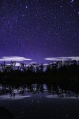 水面に映る星たち