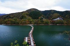 奥多摩湖 有名な浮橋 真正面から