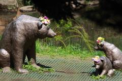 春の嵐の後のズーラシア お花 on 熊の彫像