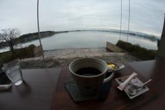 柴山潟 湖畔のカフェ 魚眼レンズシリーズ