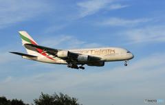 「良い天気」 エミレーツ航空 A380-861 A6-EDZ 到着