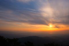宝満山からの夕陽