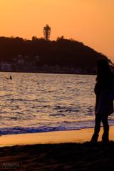 黄昏の七里ヶ浜
