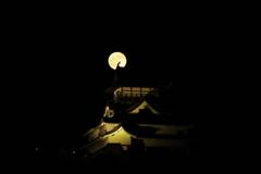 国宝犬山城と満月-2