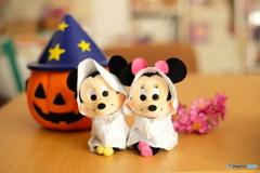 ミッキーとミニーのハロウィン仮装