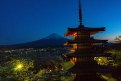 トワイライト富士&塔&桜2