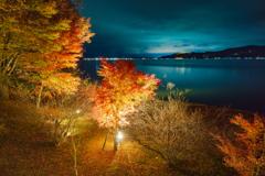 山中湖「夕焼けの渚・紅葉まつり」ライトアップ2