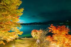 山中湖「夕焼けの渚・紅葉まつり」ライトアップ1