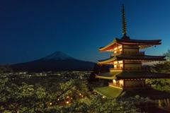 トワイライト富士&塔&桜